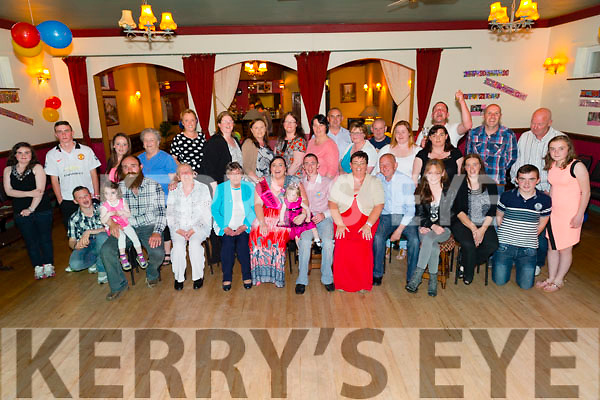 Pictured at the Railway Bar, Abbeyfeale on Friday night for a double birthday celebration of Samantha Lynch, Glin, seated centre, who was celebrating her 21st Birthday and Maurice Lenihan, BallymcElligot, was celebrating his 30th birthday with friends and family.