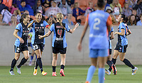 Houston, TX - Saturday April 16, 2016: Chicago Red Stars forward Christen Press (23) celebrates scoring during a National Women's Soccer League (NWSL) match against the Houston Dash at BBVA Compass Stadium.