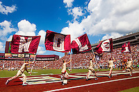 TALLAHASSEE, FLA 9/10/16-Florida State celebrates scoring their second touchdown against Charleston Southern's during first quarter action Saturday at Doak Campbell Stadium in Tallahassee. <br /> COLIN HACKLEY PHOTO