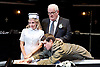 Loot <br /> by Joe Orton <br /> at Park Theatre, London, Great Britain <br /> press photocall <br /> 22nd August 2017 <br /> directed by Michael Fentiman <br /> <br /> Sam Frenchum as Hal <br /> <br /> <br /> Sinead Matthews as Fay <br /> <br /> <br /> Ian Redford as McLeavy <br /> <br /> Anah Ruddin as Mrs McLeavy <br /> <br /> <br /> <br /> Photograph by Elliott Franks <br /> Image licensed to Elliott Franks Photography Services