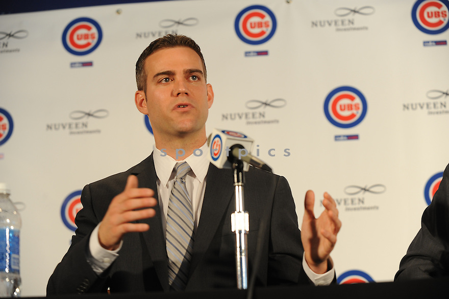 CHICAGO, IL--Theo Epstein is introduced as the new President of Baseball Operations for the Chicago Cubs, during a press conference at Wrigley Field on Oct. 25, 2011