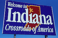 Welcome sign, IN, Indiana, state, Welcome to Indiana, Crossroads of America