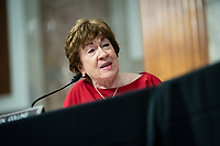 """United States Senator Susan Collins (Republican of Maine), speaks during a Senate Health, Education, Labor and Pensions Committee hearing in Washington, D.C., U.S., on Tuesday, June 30, 2020. The U.S. government's top infectious disease specialist said he's """"quite concerned"""" about the spike in coronavirus cases in Florida, Texas, Arizona and California. <br /> Credit: Al Drago / Pool via CNP /MediaPunch"""