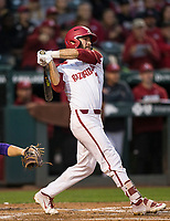 NWA Democrat-Gazette/BEN GOFF @NWABENGOFF<br /> Jack Kenley, Arkansas second baseman, hits a single in the 3rd inning vs LSU Thursday, May 9, 2019, at Baum-Walker Stadium in Fayetteville.