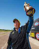 Apr 23, 2017; Baytown, TX, USA; NHRA pro stock driver Bo Butner celebrates after winning the Springnationals at Royal Purple Raceway. Mandatory Credit: Mark J. Rebilas-USA TODAY Sports