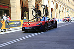 Bahrain-Merida team Mclaren car on course before Stage 1 of the 2019 Giro d'Italia, an individual time trial running 8km from Bologna to the Sanctuary of San Luca, Bologna, Italy. 11th May 2019.<br /> Picture: Eoin Clarke | Cyclefile<br /> <br /> All photos usage must carry mandatory copyright credit (© Cyclefile | Eoin Clarke)