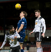 10th March 2020; Dens Park, Dundee, Scotland; Scottish Championship Football, Dundee FC versus Ayr United; Christophe Berra of Dundee competes in the air with Daniel Harvie and Sam Roscoe of Ayr United