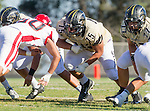 Palos Verdes, CA 10/09/15 - Chris Ghaly (Peninsula #75) and Jose Cordova (Morningside #50) in action during the Morningside - Peninsula varsity football game.  Morning side defeated Peninsula 24-21.