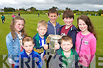 Treasa Cronin, Gavin Barry, Sean Finnegan, Dean Riordan, Aaran Barry, Brendan and Saoirse Casey with the Liam McCarthy cup  in Gneeveguilla on Sunday