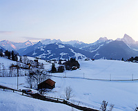 View from the chalet as dawn breaks over the Swiss Alps