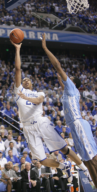UK forward Anthony Davis shoots a hook shot during the first half of UK's home game against North Carolina at Rupp Arena in Lexington, Ky., Dec. 1, 2011. Photo by Brandon Goodwin