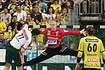 War heute ein starker R&uuml;ckhalt seiner Mannschaft Rhein Neckar Loewe Mikael Appelgren (Nr.1)  gegen Wetzlars Stefan Cavor (Nr.77) beim Spiel in der Handball Bundesliga, Rhein Neckar Loewen - HSG Wetzlar.<br /> <br /> Foto &copy; PIX-Sportfotos *** Foto ist honorarpflichtig! *** Auf Anfrage in hoeherer Qualitaet/Aufloesung. Belegexemplar erbeten. Veroeffentlichung ausschliesslich fuer journalistisch-publizistische Zwecke. For editorial use only.