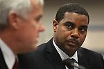 Nevada Senate Majority Leader Steven Horsford, D-North Las Vegas, listens as Chancelor Dan Klaich testifies in committee on Monday, April 11, 2011, at the Legislature in Carson City, Nev. .Photo by Cathleen Allison