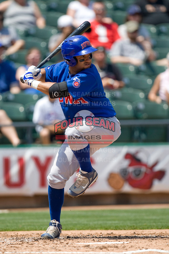 Iowa Cubs catcher Max Ramirez (20) at bat against the Round Rock Express on April 10th, 2011 at Dell Diamond in Round Rock, Texas.  (Photo by Andrew Woolley / Four Seam Images)