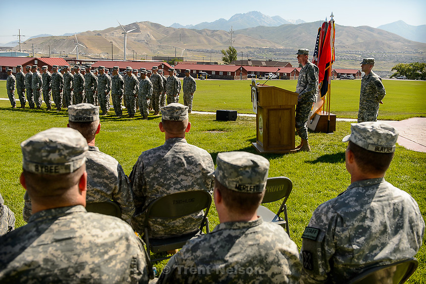 Trent Nelson  |  The Salt Lake Tribune<br /> Commander Maj. Gen. Gary Volesky speaks as fifty-three Utah Guardmembers are realigned to the 101st Airborne Division (Air Assault) in an &quot;Old Abe&quot; patch ceremony at Camp Williams in Bluffdale, Friday June 19, 2015.