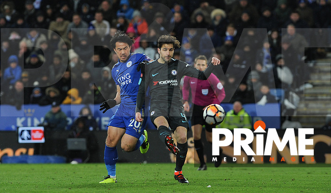 Cesc Fabregas of Chelsea & Shinji Okazaki of Leicester City during the FA Cup QF match between Leicester City and Chelsea at the King Power Stadium, Leicester, England on 18 March 2018. Photo by Stephen Buckley / PRiME Media Images.