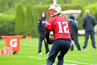 June 6, 2017: New England Patriots quarterback Tom Brady (12) drops back to pass at the New England Patriots mini camp held on the practice field at Gillette Stadium, in Foxborough, Massachusetts. Eric Canha/CSM