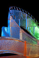 """""""Pandoras Box"""" 1st place abstract category of the 2009 World Ice Art Championships in Fairbanks, Alaska. Sculpted by Vladimir Zhikhartsev, Vitaly Lednev, Aaron Costic, Joshua Kang"""