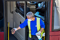 A worker disinfects a bus<br /> Roma 24/04/2020 <br /> City lockdown as a measure to contrast the covid-19 coronavirus pandemic <br /> Photo Andrea Staccioli Insidefoto
