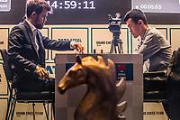 26th November 2019, Kolkata, India, Grand Master Tata Steeel Chess tournament;  Ding Liren R of China competes during the blitz round 14 against Carlsen Magnus of Norway at Tata Steel Chess India 2019 in Kolkata, India