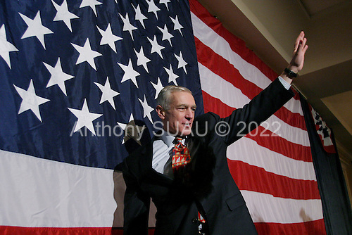 Manchester, New Hampshire.USA.January 27, 2004..General Wesley Clark celebrates with his supporters. He came in third in the primary by a narrow lead over Edwards.