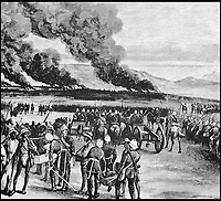 BNPS.co.uk (01202 558833)<br /> Pic: AmberleyBooks/BNPS<br /> <br /> The royal kraal in flames after at Ulundi.<br /> <br /> The remarkable untold story of an epic battle between the British and a resilient native mountain tribe called the Bepadi which brought a definitive end to the Zulu War has been revealed in a new book.<br /> <br /> Much has been written about the famous British rearguard of Rorke's Drift in January 1879 but there was another significant battle 11 months later - at Fighting Kopke - which has been completely overlooked until now.<br /> <br /> Following the British annexation of the Transvaal in 1877, the Bapedi tribe and the British were at loggerheads for two years with the Bapedi getting the upper hand in several skirmishes.<br /> <br /> The conflict came to a head in a fierce four day battle at Fighting Kopke where the Bapedi were finally defeated by British troops and their Swazi allies under the command of Sir Garnet Wolseley in November 1879.