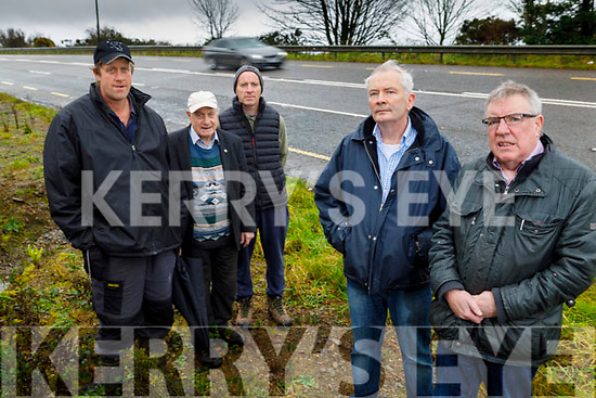 Local residents in Clounsharoon, Castleisland on Tuesday morning, looking for traffic calming measures to be done on the N21 Castleisland to Abbeyfeale road. <br /> Front l to r: Seamus Fleming and Cllr Bobby O'Connell.<br /> Back l to r: Jimmy Shanahan, Patrick O'Donoghue and Pat Shanahan.