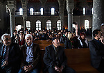 Some Armenian Christians and Armenian Muslims attended the Easter Sunday service at restored Surp Giragos Armenian Church, but also many Kurdish Muslims attended to show their support or to satisfy curiosity about the church, in Diyarbakir, Turkey, April 5, 2015. The church has no regular services, nor a priest of its own, so Father Civanoglu came from Istanbul to officiate. Surp Giragos was one of 13 Armenian churches in Diyarbakir and the largest Armenian church in the Middle East. Beginning in 1915, the Armenian Genocide sharply reduced Diyarbakir's Armenian population, and many surviving Armenians left the city or were converted to Islam. By the early 1990's, the church had fallen into disrepair. In 2009, Armenians living in Istanbul formed a foundation to restore Surp Giragos, funded mostly by private donations from the Armenian diaspora. It reopened in 2011, but the Armenian community, still in the process of its own resurrection, remains small. <br /> The 100th anniversary of the Armenian Genocide will be commemorated on April 24, 2015. The Turkish government still refuses to acknowledge genocide--the systematic killing of roughly 1.5 million Armenians from 1915-1923--but Kurds in the Southeast, even some whose ancestors took part in the killing, speak openly and express remorse about what happened.