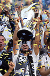 07 December 2014: Landon Donovan raises the Philip F. Anschutz Trophy. Donovan, playing his final game, became the first player to win MLS Cup six times in their career. The Los Angeles Galaxy played the New England Revolution in Carson, California in MLS Cup 2014. Los Angeles won 2-1 in overtime.