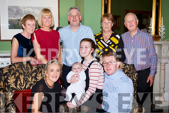 Jessie Mai Kearns Kilcummin who celebrated her christening with her parents Pauine Herlihy and Aidam Kearns, big sister Sophie Crowley, and back row l-r: Mary and Siobhan Kearns, John, Mary and Dermot Herlihy in the Dromhall Hotel Killarney on Saturday