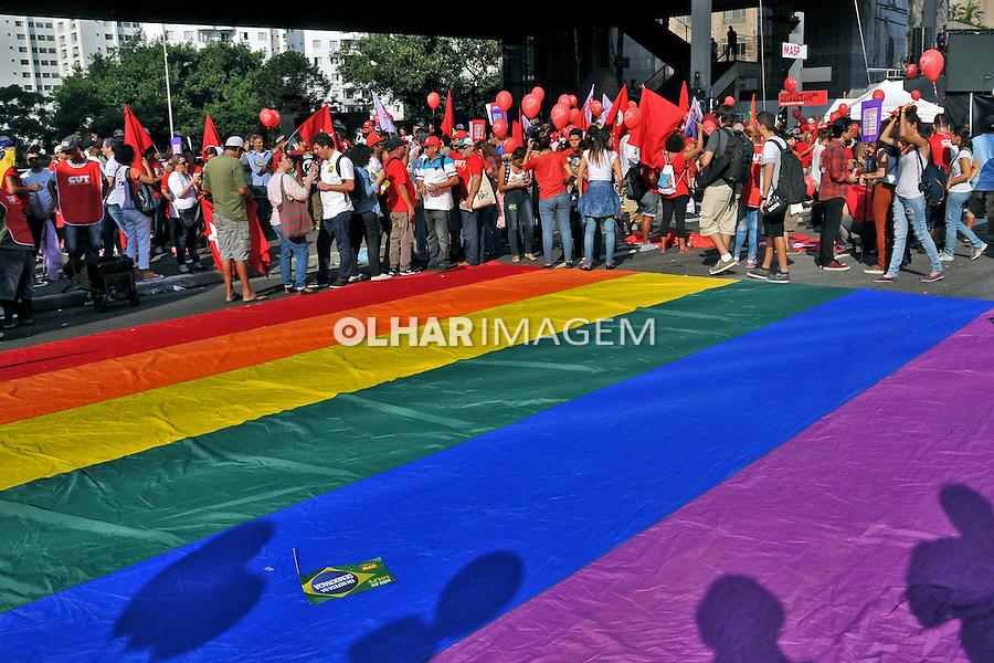 Manifestaçao em defesa da democracia e contra o golpe. Avenida Paulista. Sao Paulo. 2016. Foto de Marcia Minillo