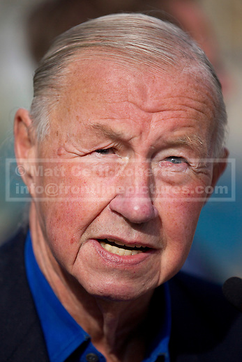 17/09/2012. LONDON, UK. Designer, Sir Terence Conran, Founder of the Design Museum, is seen at a 'ground breaking' ceremony at the site of the new Design Museum in Kensington, West London today (17/09/12).  Being built on the site of the former Commonwealth Institute in West London, the museum is scheduled to be completed in 2015. Photo credit: Matt Cetti-Roberts