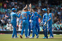 India celebrate with wicket taker Jasprit Bumrah (India) during India vs New Zealand, ICC World Cup Warm-Up Match Cricket at the Kia Oval on 25th May 2019