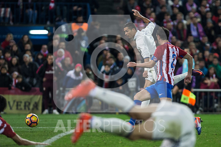 Real Madrid's Cristiano Ronaldo Atletico de Madrid's Diego Godin  during the match of La Liga between Atletico de Madrid and Real Madrid at Vicente Calderon Stadium  in Madrid , Spain. November 19, 2016. (ALTERPHOTOS/Rodrigo Jimenez)