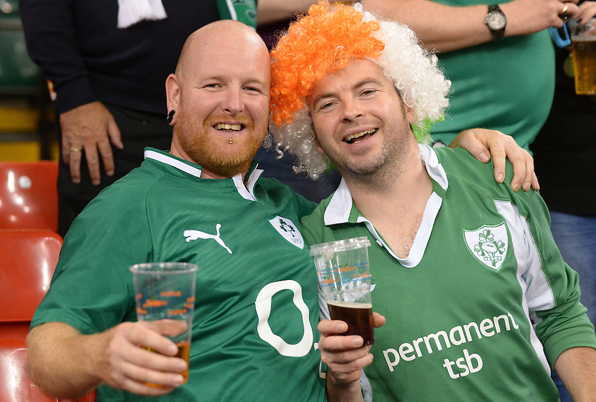 Ireland fans enjoying the atmosphere prior to kick off <br /> <br /> Photographer Ian Cook/CameraSport<br /> <br /> Rugby Union - 2015 Rugby World Cup - Canada v Ireland - Saturday 19th September 2015 - Millennium Stadium - Cardiff<br /> <br /> &copy; CameraSport - 43 Linden Ave. Countesthorpe. Leicester. England. LE8 5PG - Tel: +44 (0) 116 277 4147 - admin@camerasport.com - www.camerasport.com