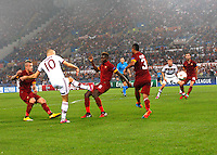 Bayer's Arjen Robben shoots and scores during the Champions League Group E soccer match between As Roma and FC Bayern Munchen at the Olympic Stadium in Rome october 21 , 2014.