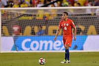 Chicago, IL - Wednesday June 22, 2016: Gonzalo Jara during a Copa America Centenario semifinal match between Colombia (COL) and Chile (CHI) at Soldier Field.
