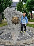 Głaz z herbem miasta i tablica informująca o nadaniu miana środka Europy, Suchowola, Polska<br /> Boulder with the coat of arms of the city and a plaque announcing the name of the center of Europe, Suchowola, Poland