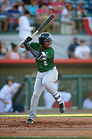 Daytona Tortugas shortstop Alfredo Rodriguez (2) at bat during a game against the Florida Fire Frogs on April 6, 2017 at Osceola County Stadium in Kissimmee, Florida.  Daytona defeated Florida 3-1.  (Mike Janes/Four Seam Images)