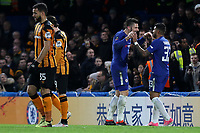 Olivier Giroud celebrates scoring Chelsea's fourth goal with Emerson during Chelsea vs Hull City, Emirates FA Cup Football at Stamford Bridge on 16th February 2018