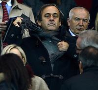 GENEBRA, SUICA, 21 DE MARCO DE 2013 - Michel Platini ex-jogador e atual presidente da UEFA durante partida amistosa entre Italia e Brasil, disputada em Genebra, na Suíça, nesta quinta-feira, 21. O jogo terminou 2 a 2. FOTO: PIXATHLON / BRAZIL PHOTO PRESS