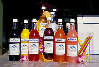 Shave ice syrup of various flavors in bottles