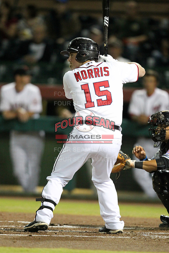 Scottsdale Scorpions catcher Derek Norris #15 during an Arizona Fall League game against the Peoria Javelinas at Scottsdale Stadium on November 1, 2011 in Scottsdale, Arizona.  Scottsdale defeated Peoria 6-4.  (Mike Janes/Four Seam Images)