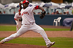 Tuesday, July 14, 2009. Vancouver Canadians  Pitcher Jose Guzman pitching in the 9th inning. Guzman had a 1-2-3 9th for the save.  The Vancouver Canadians beat the Boise Hawks 3-2.  Photo by Gus Curtis.