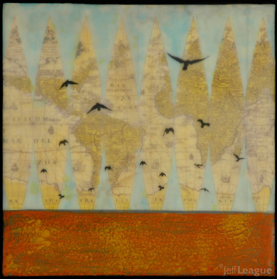 Mixed media painting with antique map and encaustic photography of birds flying over red ocean