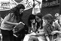 Battered Women's Speak Out, Boston City Hall Plaza, August 26, 1976 (L-R Lisa Leghorn, Marge Piercy, Karen Lindsay)