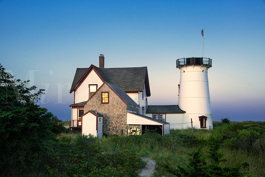 Stage Harbor Lighthouse, Chatham, Cape Cod, Massachusetts, USA. Also known as Harding's Beach Lighthouse. 1880