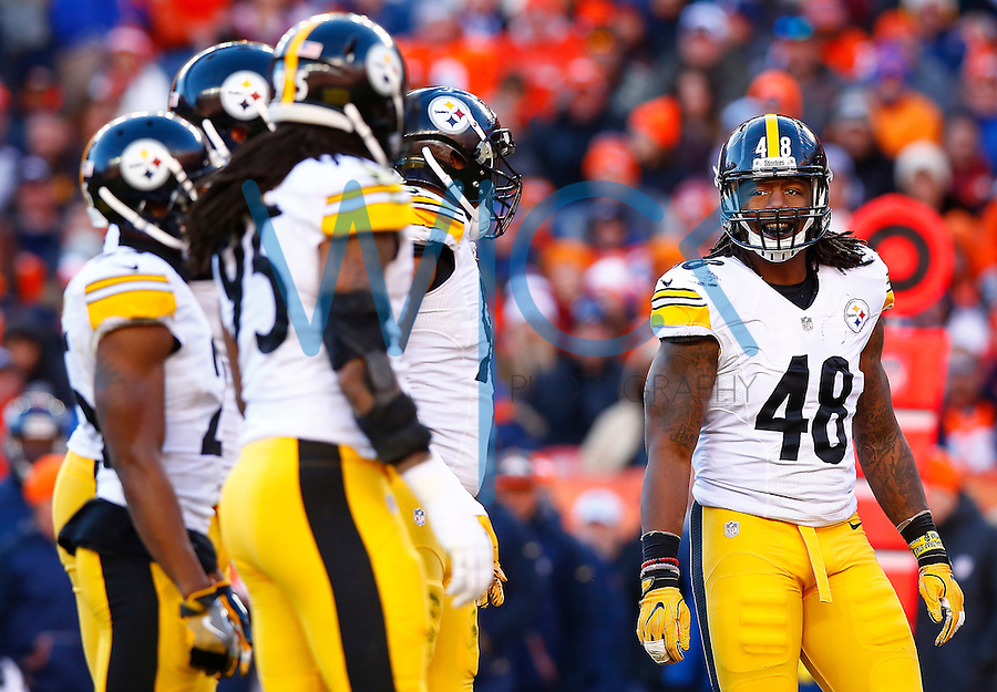 Bud Dupree #48 of the Pittsburgh Steelers in action against the Denver Broncos during the AFC Divisional Round Playoff game at Sports Authority Field at Mile High on January 17, 2016 in Denver, Colorado. (Photo by Jared Wickerham/DKPittsburghSports)