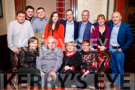 PJ Walsh, Limerick and Tralee, who celebrated his 70th Birthday with friends and family in the Grand Hotel, Tralee on Saturday night last, front l-r: Kerry Walsh, PJ Walsh, Chrissie Walsh and Bridget Moran. Back l-r: Vinnie Mulvanny, Noel Carroll, Ryan Carroll, Lisa Walsh, David Walsh, John Moran, Phil Walsh and Mike Walsh.