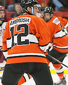 Mike Ambrosia (Princeton - 12) - The Harvard University Crimson defeated the visiting Princeton University Tigers 5-0 on Harvard's senior night on Saturday, February 28, 2015, at Bright-Landry Hockey Center in Boston, Massachusetts.